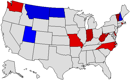 1992 National Map of General Election Results for Governor