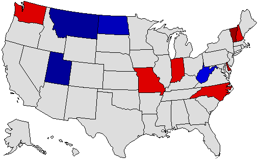 1996 National Map of General Election Results for Governor
