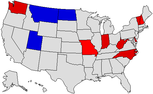 2000 National Map of General Election Results for Governor