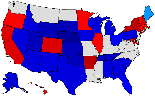 2010 National Map of General Election Results for Governor