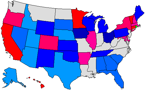 2010 Gubernatorial Pick-up Map
