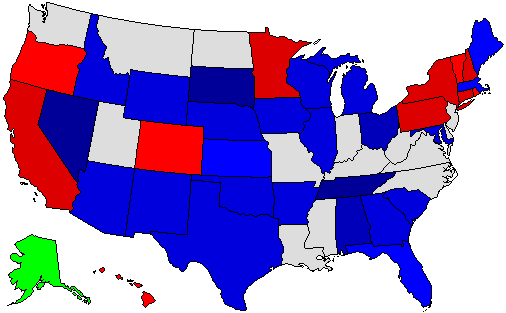 2014 National Map of General Election Results for Governor