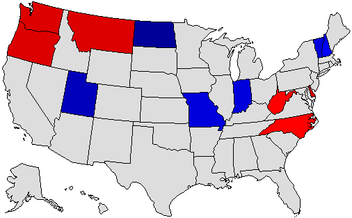 2016 National Map of General Election Results for Governor