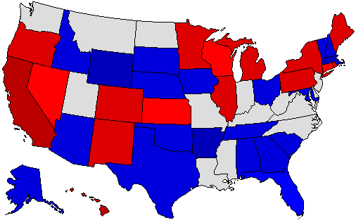 2018 National Map of General Election Results for Governor