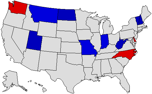 2020 National Map of General Election Results for Governor