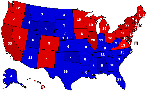 Dave Leips Atlas Of US Presidential Elections - Electoral votes us map