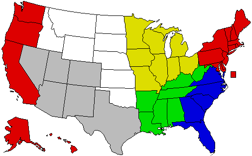 Dividing the us into regions nb northeast and west coast are 2 separate regions in this map i just didnt have enough colors sciox Image collections