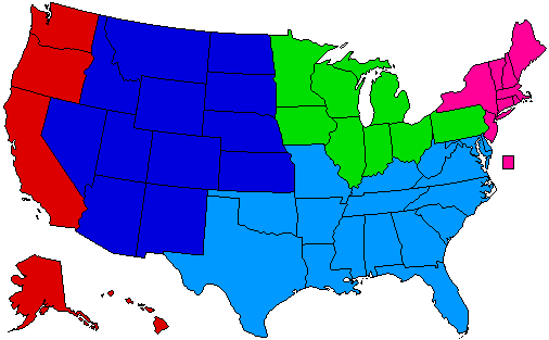 Dividing The US Into Regions - 4 regions of us map