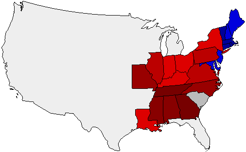 1828 National Map of General Election Results for President