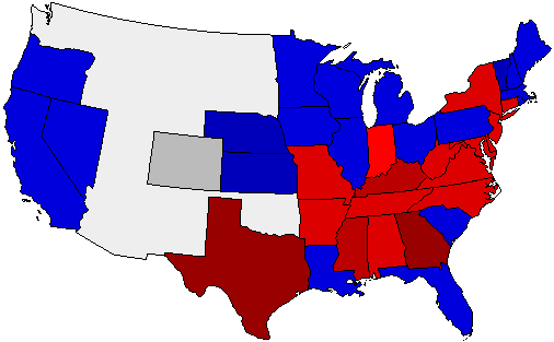 1876 National Map of General Election Results for President