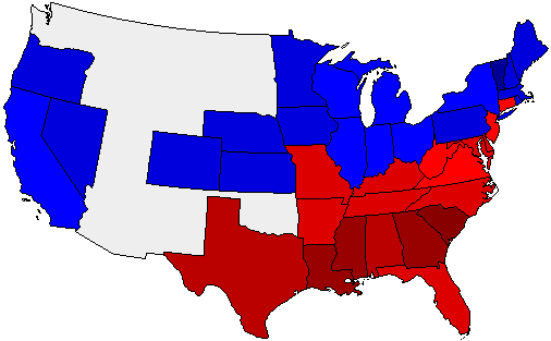 1888 National Map of General Election Results for President
