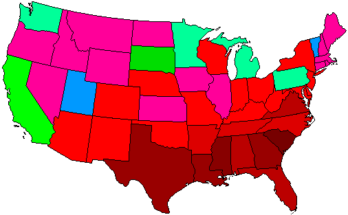 1912 National Map of General Election Results for President