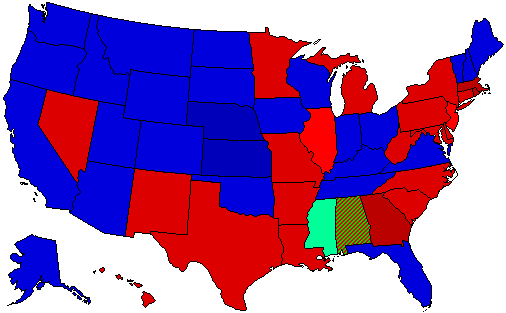 1960 National Map of General Election Results for President