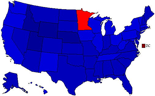 1984 National Map of General Election Results for President
