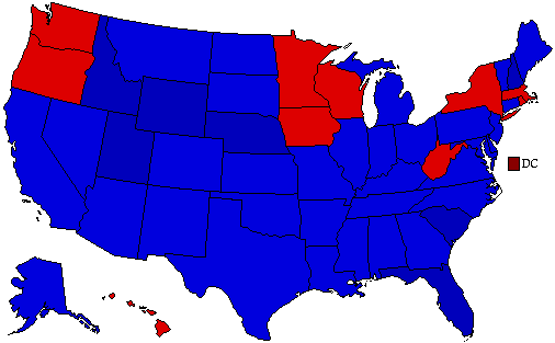 1988 National Map of General Election Results for President