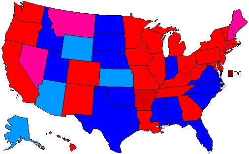 1992 National Map of General Election Results for President