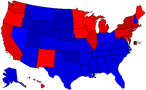 2000 National Map of General Election Results for President