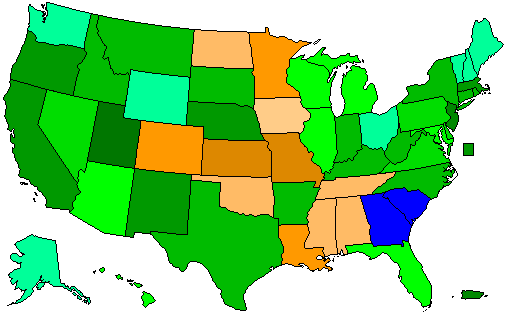 2012 National Map of Republican Primary Election Results for President