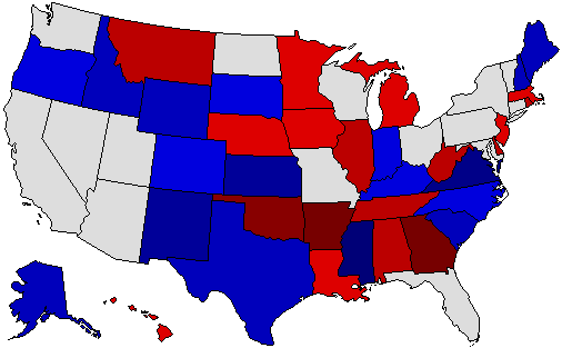 1990 National Map of General Election Results for Senator
