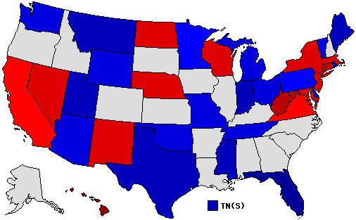 1994 National Map of General Election Results for Senator