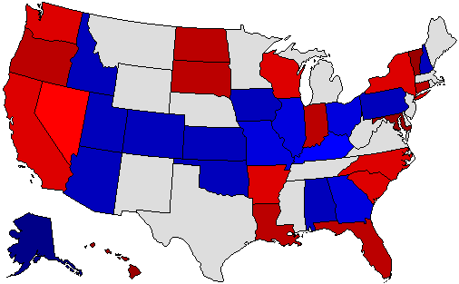 1998 National Map of General Election Results for Senator