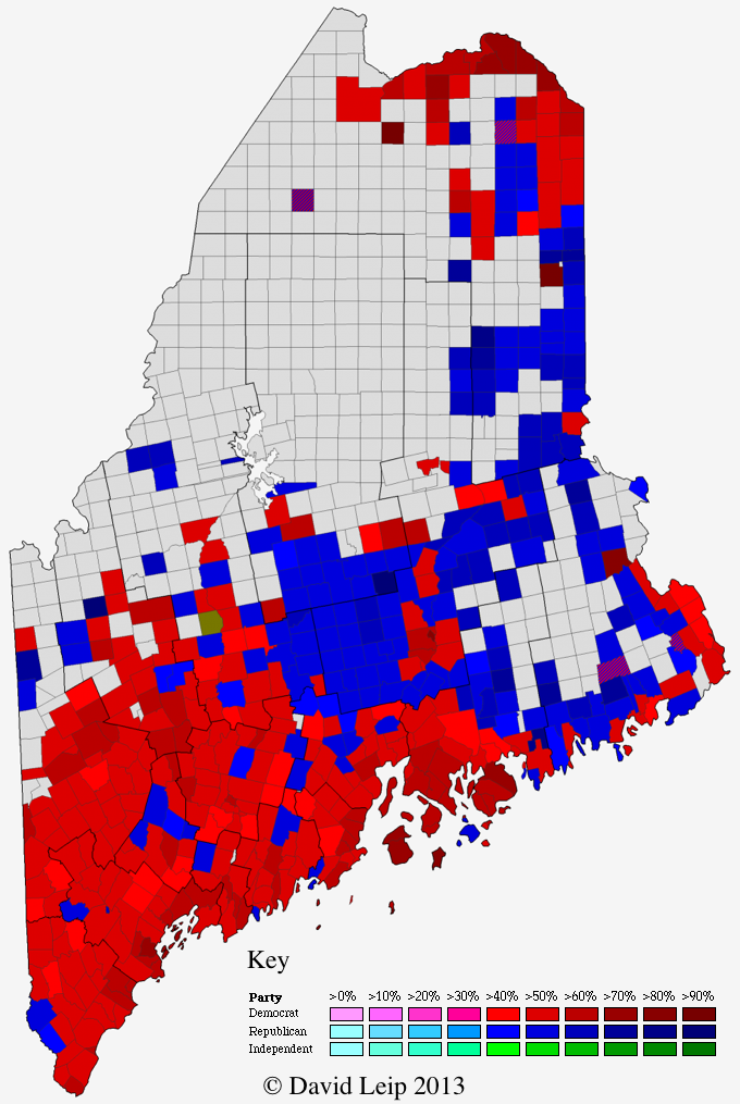 Maine 2012 Presidential Election Results by Town