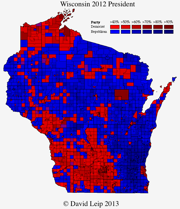 Wisconsin 2012 Presidential Map by County Subdivision - The Atlas Weblog