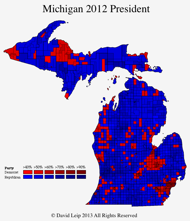 Michigan 2012 Presidential Election Results by City and Township