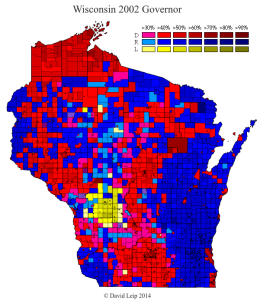 Wisconsin 2002 Gubernatorial Election Result Map by Municipality