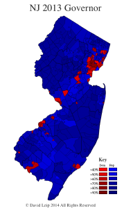 New Jersey 2013 General Election Gubernatorial Map by Municipality