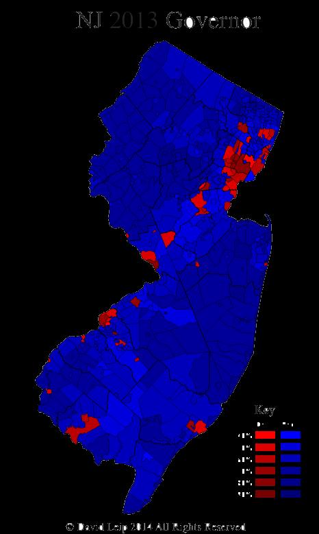 new jersey 2013 gubernatorial results map by munility