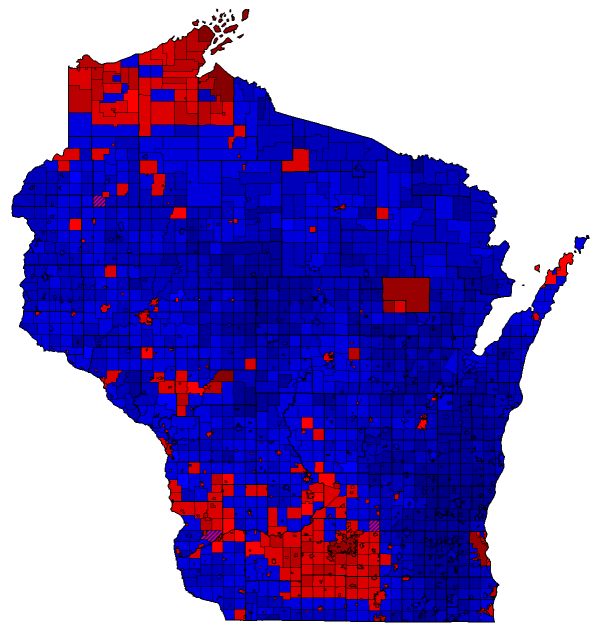 Wisconsin 2014 Gubernatorial Election Result Map by Municipality