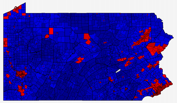Pennsylvania 2012 Presidential Election Results Map By