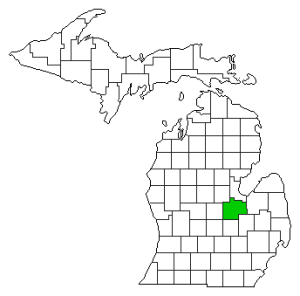Michigan County Map Highlighting Saginaw County